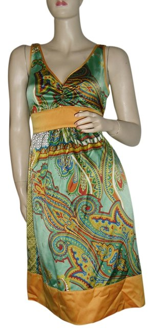 Preload https://img-static.tradesy.com/item/14142475/forever-21-green-gold-scarf-unique-paisley-border-print-mid-length-short-casual-dress-size-8-m-0-1-650-650.jpg