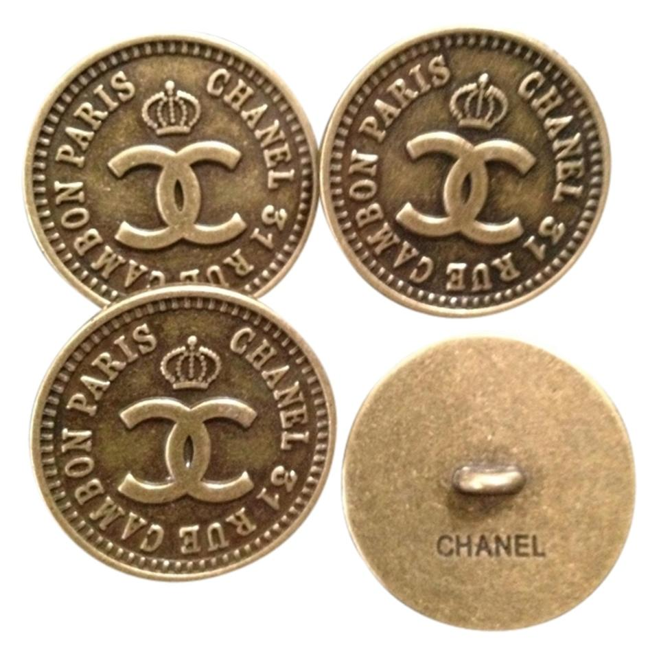 Chanel Bronze Cambon Rue Large Buttons Set Of 4