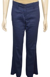 Theory Linen Casual Wear Straight Pants Blue