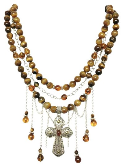 Kinley Sterling Silver Tiger's Eye Multi Strand Cross Necklace Back Drops