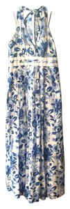 blue and white floral Maxi Dress by London Times
