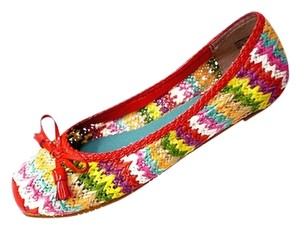 Naughty Monkey Ballet Red Woven Multi Rafia Patent Trim Chevron RED/MULTI Flats