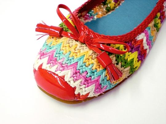Naughty Monkey Ballet Woven Rafia Patent Trim Chevron RED/MULTI Flats