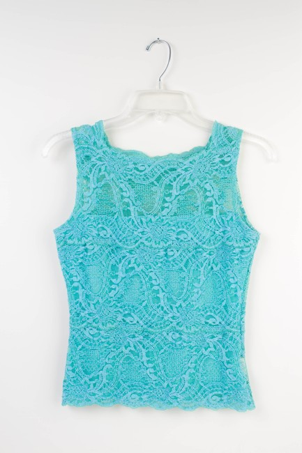 Kay Celine Lace Stretchy Sleeveless Top Turquoise