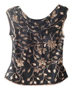 Andretta Donatello Top black with copper beading