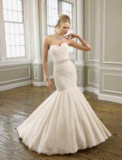 Mori Lee Light Gold/ Ivory Wedding Dress Size 8 (M)