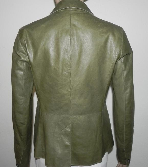 Vince VINCE 2 BUTTON GREEN LEATHER JACKET