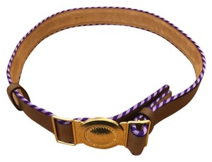 Etro Etro tan leather and grosgrain belt with gold buckle