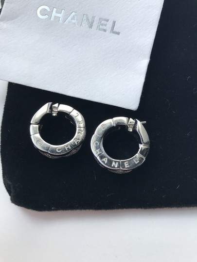 Chanel Chanel Solid 18k White Gold & Pave Diamond Quilted Hoop Earrings.