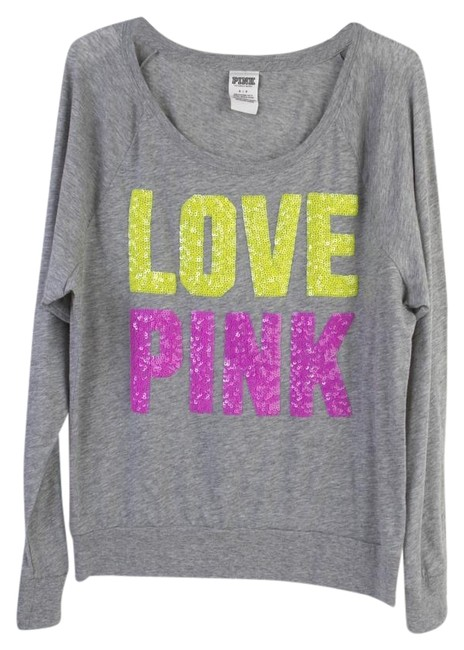 PINK Bling Limited Edition Sequin Raglan T Shirt Heather Gray