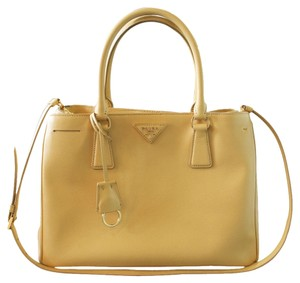 Prada Saffiano Lux Canvas Medium Gold Hardware Tote in Mustard
