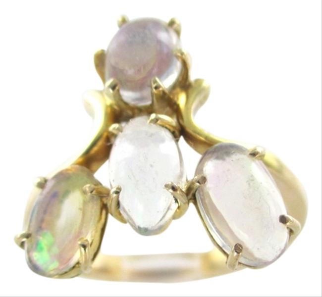 Old 14kt Solid Yellow Gold Opals 6 Wedding Band Engagement 3.8 Grams Ring Old 14kt Solid Yellow Gold Opals 6 Wedding Band Engagement 3.8 Grams Ring Image 1