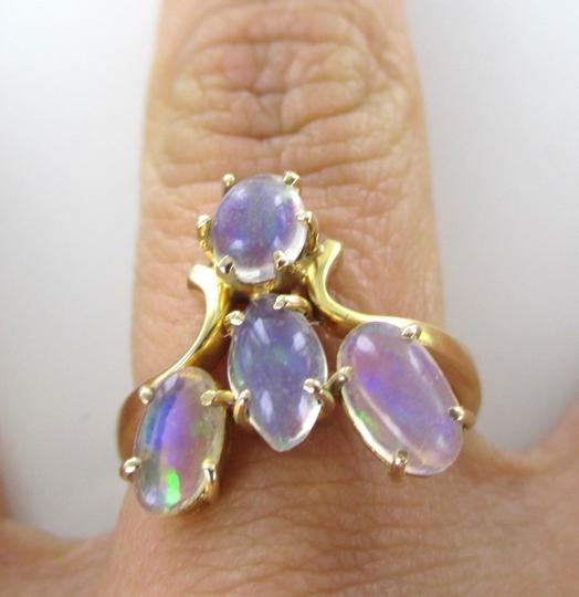 Other 14KT SOLID YELLOW GOLD RING JELLY OPALS SZ 6 WEDDING BAND ENGAGEMENT 3.8 GRAMS