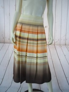 Talbots Petites Without Tag Silk Pleated Striped Lined Classy Skirt Orange Yellow Tan White
