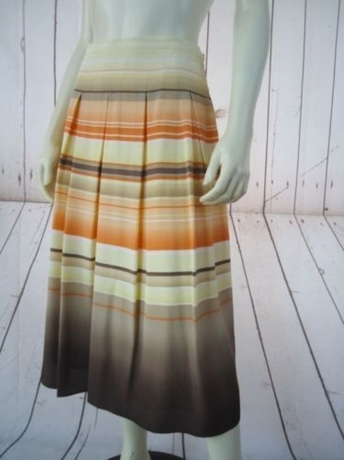 Talbots Petites Without Tag Pure Silk Pleated Striped Lined Classy Skirt Orange Yellow Tan White
