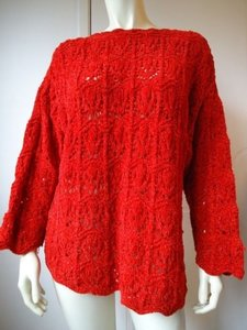 Anne Klein Metallic Crochet Scallop Edge Holiday Red Sweater