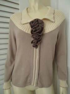 Anthropologie Field Flower More M Lavender Cardigan Snapfront Retro Sweater