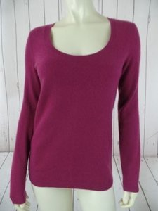 Talbots Cashmere Scoop Neck Long Torso Fine Knit Hot Sweater