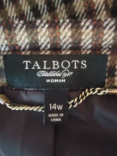 Talbots Talbots Woman Blazer 14w 16w Brown Wool Plaid Checks Button Front Swing Retro