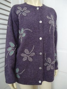 Talbots Cardigan Wool Boho Hippie Flower Power Embroideryhot Sweater
