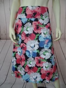 Talbots Woman 20w Floral Textured Spandex Stretch Straight Chic Skirt Multi-Color