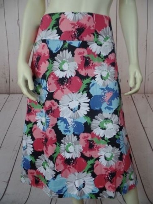 Talbots Woman 20w Floral Textured Cotton Spandex Stretch Straight Chic Skirt Multi-Color