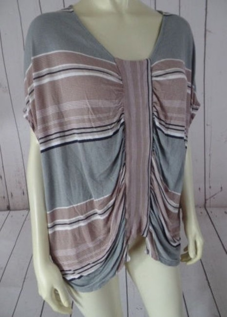 Urban Outfitters Knit Top Modal Pullover Grays Tans Striped Gathers Boho Chic Image 0