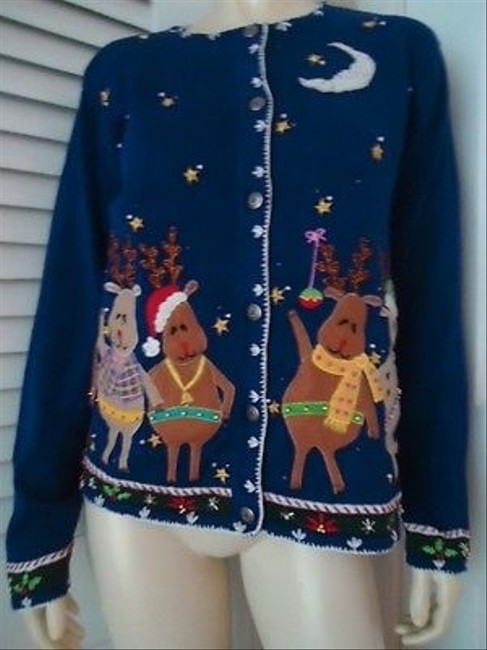 Preload https://img-static.tradesy.com/item/14146855/arriviste-ugly-christmas-sweater-reindeer-appliques-cardigan-blue-ramie-cotton-0-0-650-650.jpg