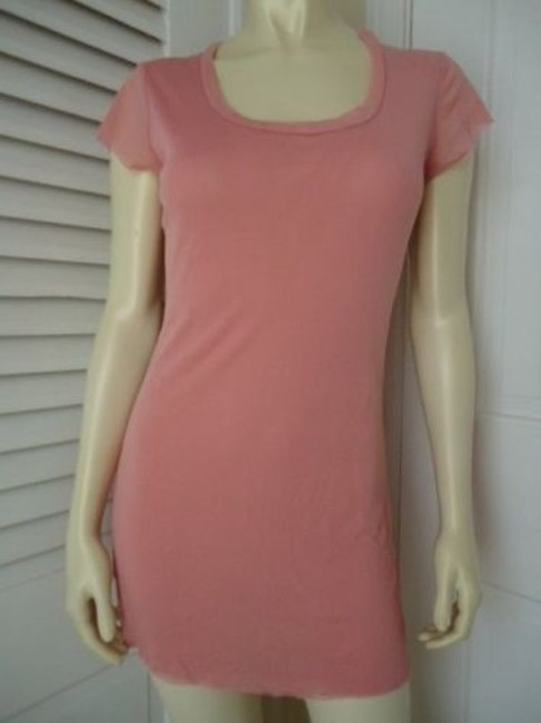 Bisou Bisou Long Topmini Dress Pullover U Decide Nylon Knit Salmon Pinkhot Image 0