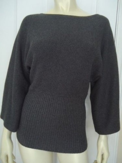 Anne Klein Cotton Rabbit Hair Soft Rib Waist Dolman Chic Sweater