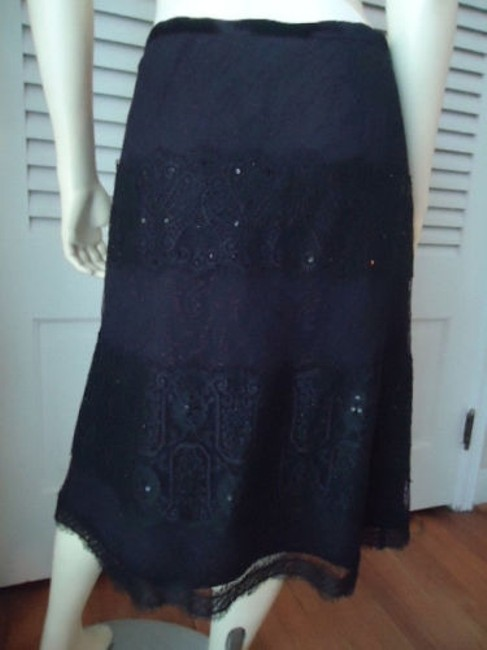 Ann Taylor Lace Pleated Sequins Lined Skirt Black