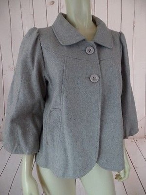 Lux Blazer Coat Stretch Wool Blend Retro 50s Style Swing Lined Grays Heather Jacket