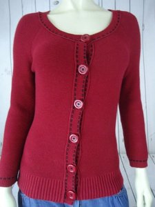 Ann Taylor LOFT Cotton Reverse Knit Button Cardigan Chic Sweater