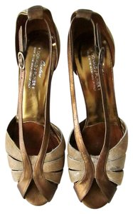 Donald J. Pliner Calfskin Strappy Stiletto Heels Leather Party Festive New Years Christmas Club Gold/Copper Sandals