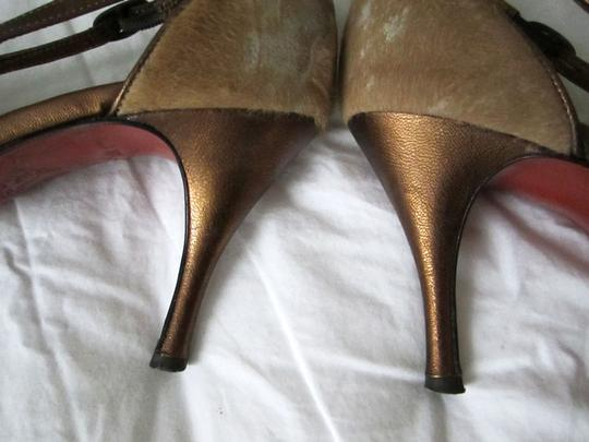 Donald J. Pliner J Calfskin Strappy Stiletto Heels Leather Party Festive New Years Christmas Club Gold/Copper Sandals