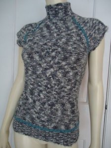 Other Industry Soft Furry Cap Sleeve Turtleneck Lace Design Funky Sweater