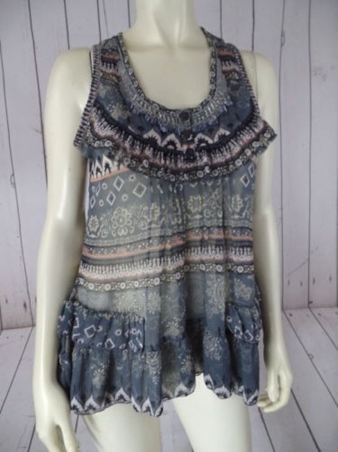 Preload https://img-static.tradesy.com/item/14146981/solitaire-top-pullover-sheer-poly-tank-beads-ruffle-tiers-floral-abstract-boho-0-0-650-650.jpg