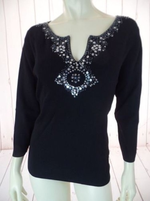 Preload https://img-static.tradesy.com/item/14147026/pierre-cardin-stretch-knit-pullover-y-neck-sweater-sequins-beads-34-slv-sexy-0-0-650-650.jpg