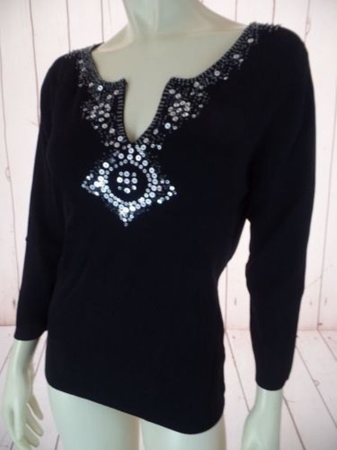 Pierre Cardin Stretch Knit Sequins Beads 34 Slv Sexy Sweater