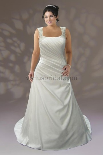 Venus Bridal Ivory Satin Vw8667 Formal Wedding Dress Size 22 (Plus 2x)