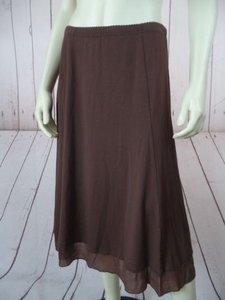 Other J Jill Petite Rayon Lycra Stretch Knit Elastic Waist Comfy Boho Skirt Brown