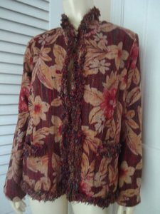Chico's Chicos Blazer Coat 1 Waterlilly Newport Silk Blend Textured Fringe Chic