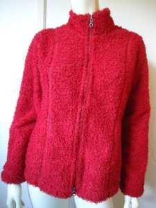 J. Jill Jill Zipper Front Knit Sp Unlined Fuzzy Red Warm Comfy Reds Jacket