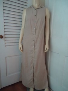 Beige Maxi Dress by Valerie Stevens Linen Long Button Front Hoodie Sleeveless