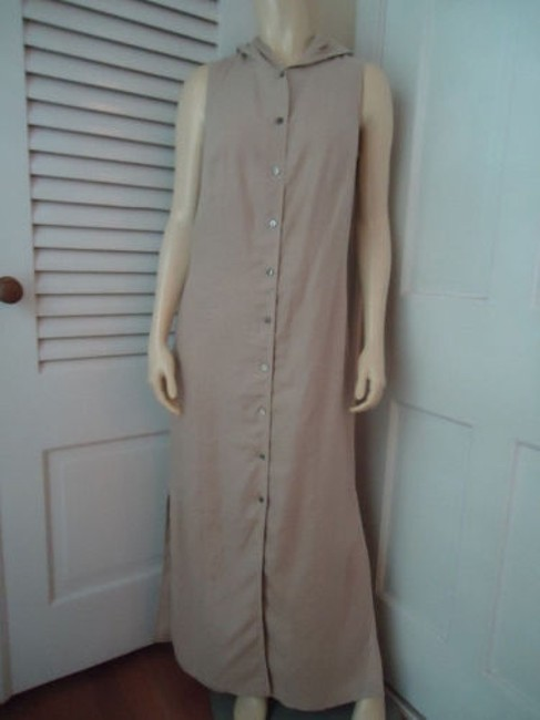 Preload https://img-static.tradesy.com/item/14147131/valerie-stevens-pure-linen-dress-long-beige-button-front-hoodie-sleeveless-0-0-650-650.jpg