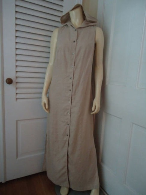 Beige Maxi Dress by Valerie Stevens Pure Linen Long Button Front Hoodie Sleeveless