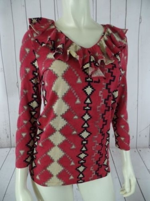Ralph Lauren Top Cotton Modal Knit Pullover Red Southwestern Tribal Ruffle Hot Image 0