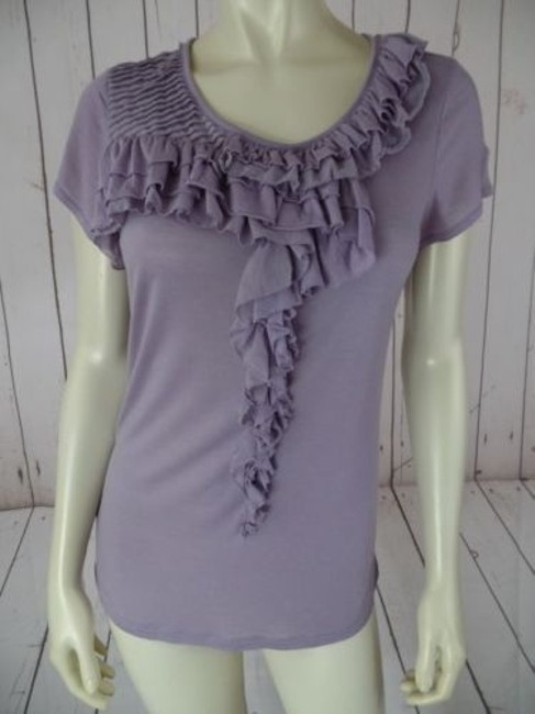 Ann Taylor T-shirt Top Lilac Tissue Thin Lyocell Silk Stretch Knit Ruffles Hot Image 0
