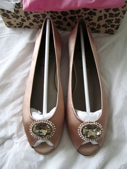 French Sole Glaring Jewel Gem Opentoe Pink Copper Satin Flats