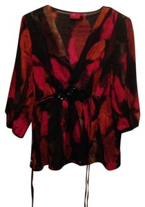 Tapemeasure Top Burnt Orange, Deep Red, Black, Beige